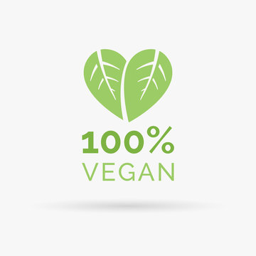 100% vegan icon design. 100% vegan symbol design. Vegan food sign with leaves in heart shape design. Vector illustration.
