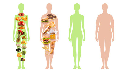 Slim and overweight person silhouette - healthy vs unhealthy food concept