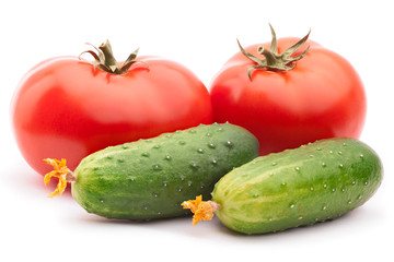 Tomatoes and cucumbers isolated on the white background with clipping path