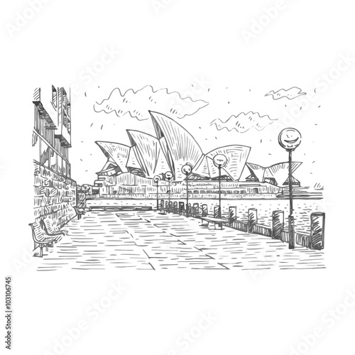 Side view of the sydney opera house in sydney australia vector freehand pencil sketch