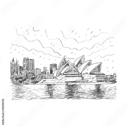 The sydney opera house in sydney australia drawn pencil sketch vector file