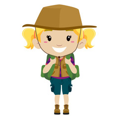 Illustration of a Girl in camping costume