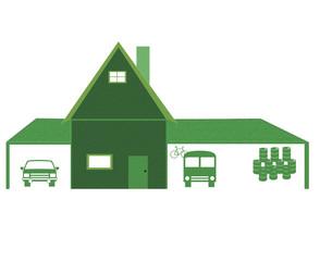 Home and car port illustration