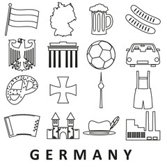 germany country theme outline icons set eps10