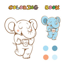 Coloring book with cute cartoon  elephant. Vector image.