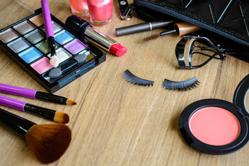 make up with cosmetics and brushes