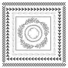 Hand-Drawn Doodle Seamless Borders, frames and wreaths