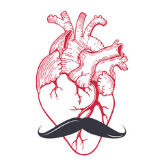 red heart with mustache