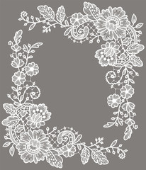 Card. White Lace Corners. Floral Pattern. Gray Background.