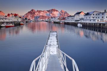 Henningsvær on the Lofoten in Norway at sunrise