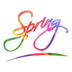 Spring lettering. Watercolor bright colorful letters with rainbo