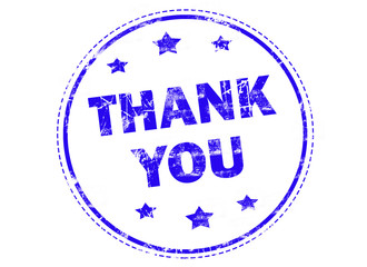 Thank you on blue grunge rubber stamp