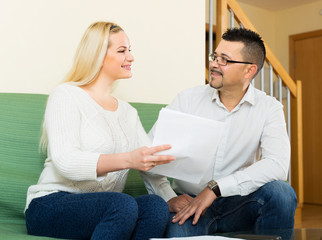 Family filling questionnaire for employee