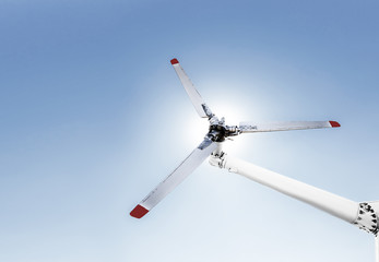 Closeup of helicopter tail rotor blade mechanism