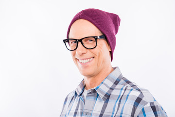 Handsome aged hipster in glasses with hat