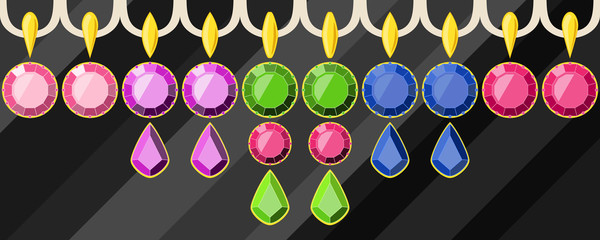 set of colored precious earrings