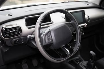 Modern car dashboard. Screen multimedia system.