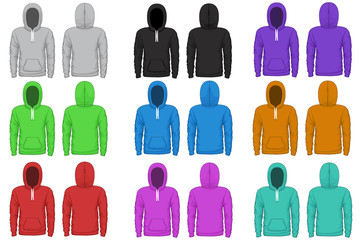 Raglan hoodie vector template. Cloth raglan, sweatshirt hoodie, wear garment illustration