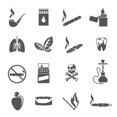 Smoking icons and tobacco icons vector. Cigarette tobacco, addiction smoking, cigar tobacco illustration