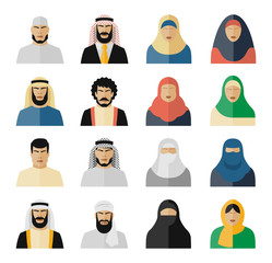 Arab people icons. Muslim people, arabian people, islam people woman and man. Vector illustration set