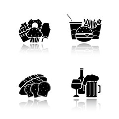 Food and drinks drop shadow icons set