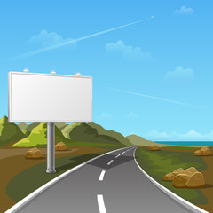Road billboard with landscape background. Billboard advertising, advertisement blank, outdoor billboard, poster billboard illustration