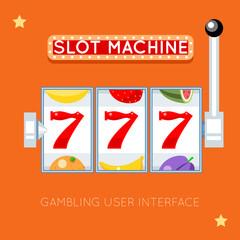 Online slot machine. Success lucky, gambling game, slot machine jackpot, casino machine slot illustration. Vector gambling user interface