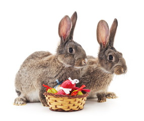 Easter basket and rabbits.