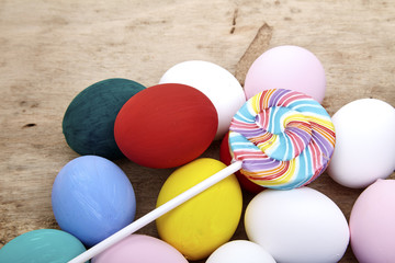 multicolored lollipops and easter egg