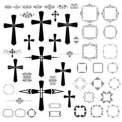Vintage design with gothic crosses and retro frames