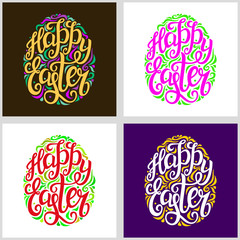 Happy Easter lettering typography cards