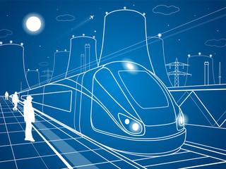 Train on station, industrial illustration, energy plant, vector design art