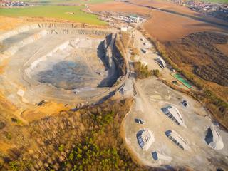 Aerial view of open cast mine. Industrial landscape. Environmental destruction.