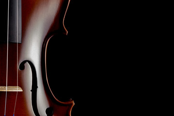 Violin Partial View on Black Background
