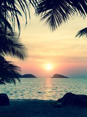 Sunset on a tropical beach.
