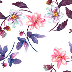 Seamless background pattern with watercolor drawings of dahlia flowers