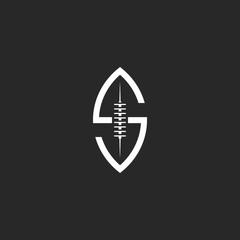 Football ball logo S letter, creative idea rugby sport team emblem template