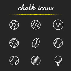 Sport balls chalk icons set