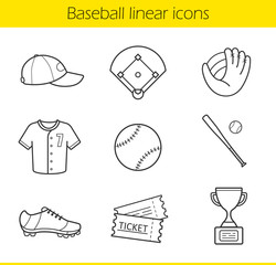Baseball linear icons set