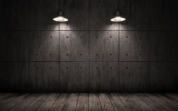 industrial grunge background with lighting ceiling lights, dark room with walls of concrete slabs and wooden floor