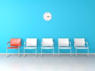 Nice waiting room whth blue wall