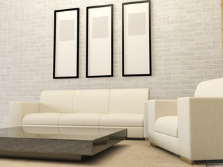 White living room interior in modern style, 3D render