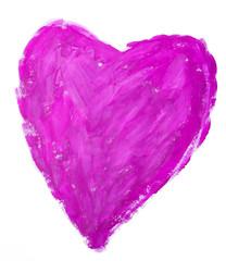 Нарисованное красками яркое сердце