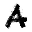 scratched A grungy font, icon and logo, brush stroke ink symbol