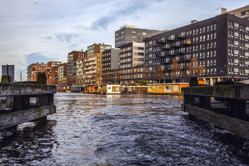General landscape views in channels & embankments of Amsterdam at evening time.