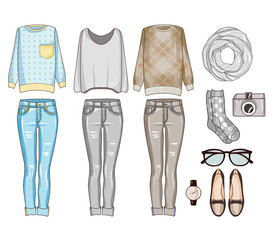 Fashion set of woman's clothes, accessories, and shoes . Casual outfits in grey, blue and brown color shades - fashion clip art
