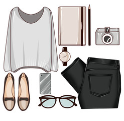 Fashion set of woman's clothes, accessories, and shoes - fashion clip art