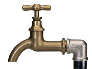 Brass faucet and a water-pipe
