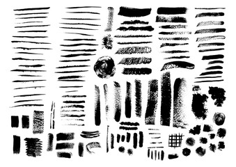 Vector set of grunge brush strokes and stains.