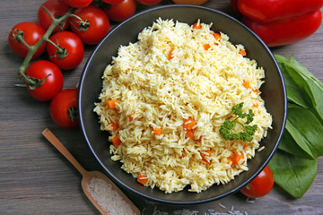 Dish of vegetarian rice closeup